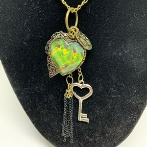 Heart Key Leaf Necklace Pendant Chain